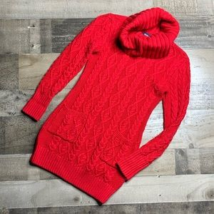 RALPH LAUREN RED CROWL CABLE KNIT SWEATER SZ M